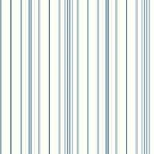 White/Light Blue/Medium Blue Stripes Wallcovering by York