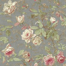 Pewter/Pink/Cream Botanical Wallcovering by York
