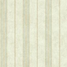Cream/Aqua/Tan Stripes Wallcovering by York