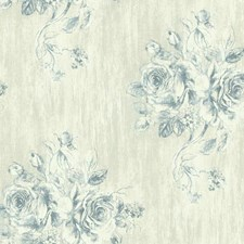 Cream/Grey/White Floral Medium Wallcovering by York