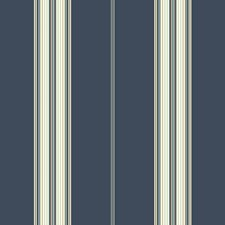 Deep Blue/White/Medium Blue Stripes Wallcovering by York