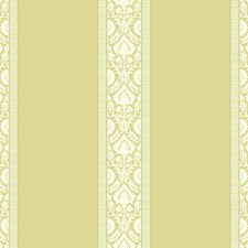 Yellowish Green/White/Silver Damask Wallcovering by York