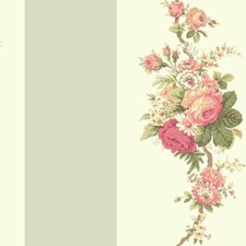 Aquamarine/White/Coral Floral Wallcovering by York
