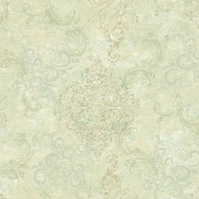 Beige/Cream/Aqua Damask Wallcovering by York