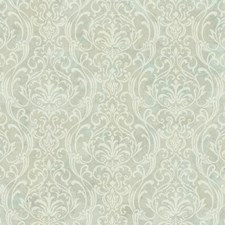 Pale Aqua/Light Beige/Cream Damask Wallcovering by York