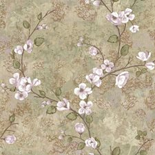 Tan/Lilac/Grey Floral Wallcovering by York