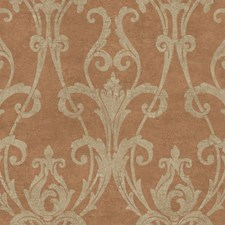 Copper Cinnamon/Putty Damask Wallcovering by York