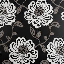 Ebony Floral Medium Wallcovering by Clarke & Clarke