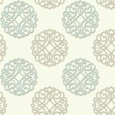 Light Blue/Brown/Beige Medallion Wallcovering by Kravet Wallpaper