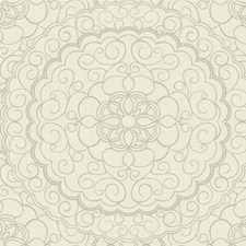 Silver/Ivory Medallion Wallcovering by Kravet Wallpaper