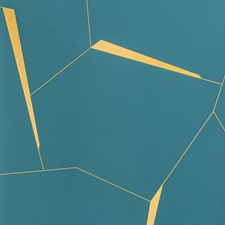 Teal/Yellow Geometric Wallcovering by Kravet Wallpaper