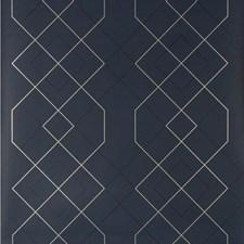 Indigo/Metallic Geometric Wallcovering by Kravet Wallpaper