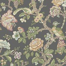 Darkest Green/Purple/Beige Floral Wallcovering by York