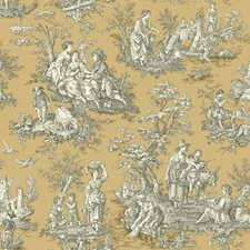 Caramel/Cream/Black Toile Wallcovering by York
