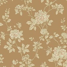 Metallic Gold/Cream/Peach Floral Wallcovering by York