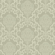 Grey Satin/Pale Grey/White Damask Wallcovering by York