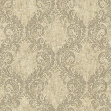 Beige/Silver/Brown Damask Wallcovering by York