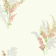 White/Peach/Pale Blue Floral Wallcovering by York