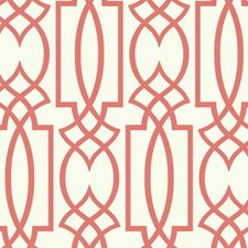 White/Coral Trellis Wallcovering by York