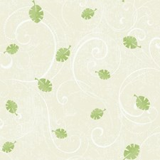 Pale Sand Beige/Soft Medium Green/White Scroll Wallcovering by York